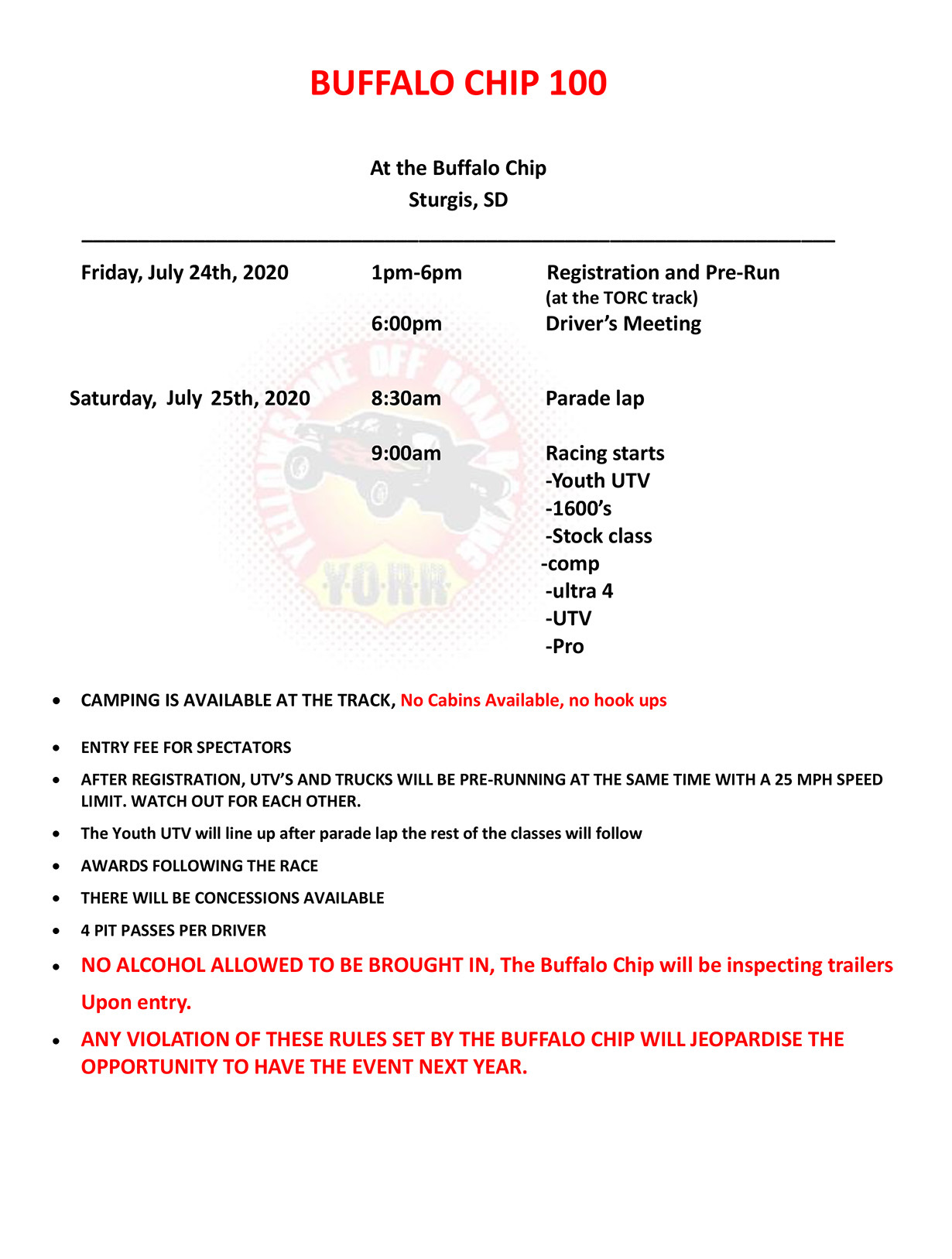 20200725 Buffalo Chip 100 Schedule Of Events